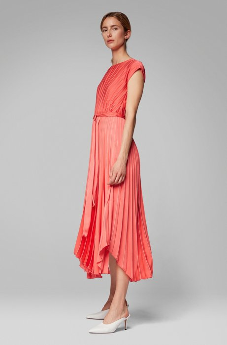 Midi dress in plissé fabric with asymmetric hemline, Patterned