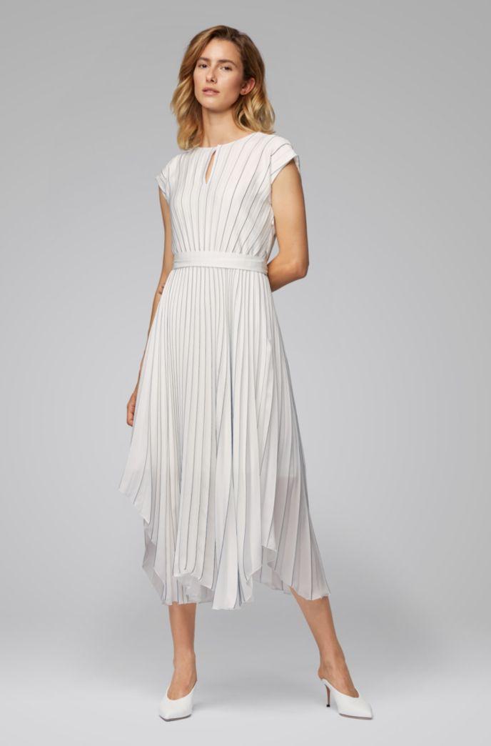 Midi dress in plissé fabric with asymmetric hemline