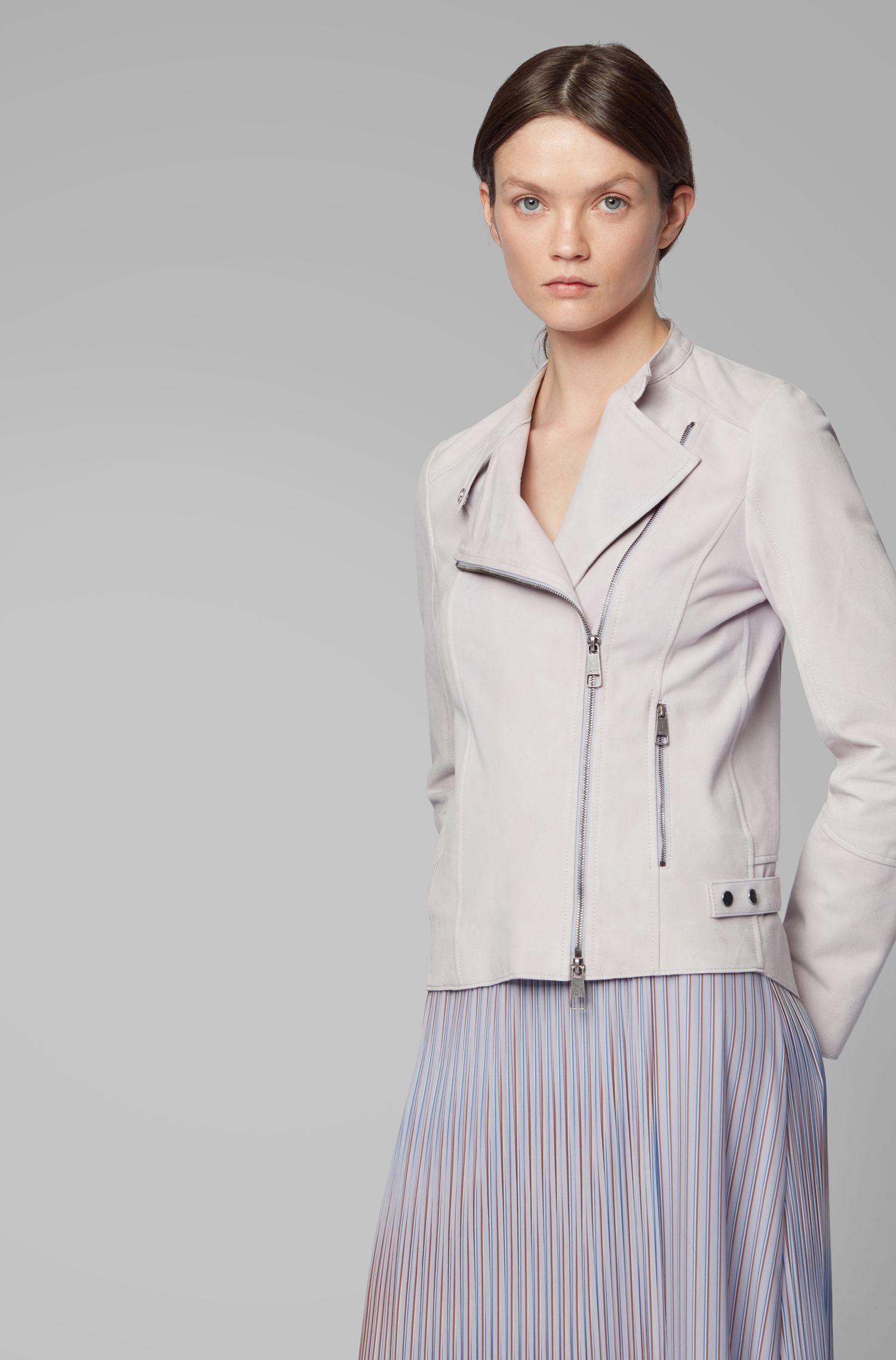 Biker jacket in super-soft suede with asymmetric zipper, Light Purple