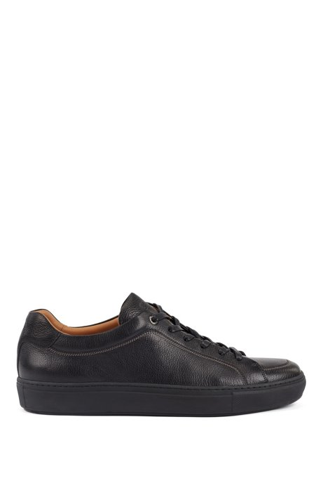 Italian-made sneakers in grained leather with seasonal stitching, Black