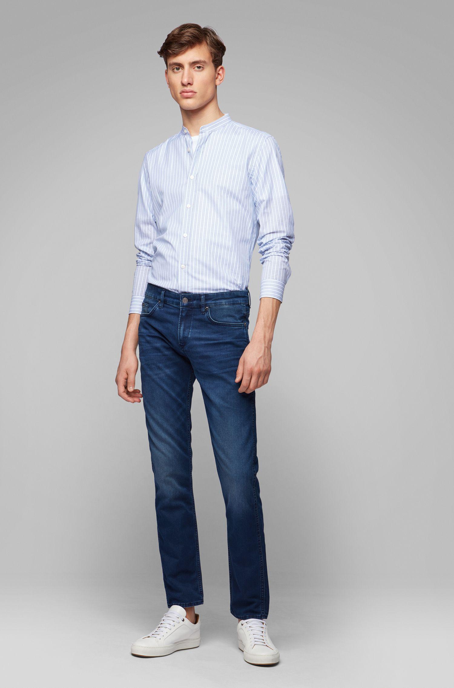 Slim-fit jeans in comfort-stretch blue-black denim, Blue