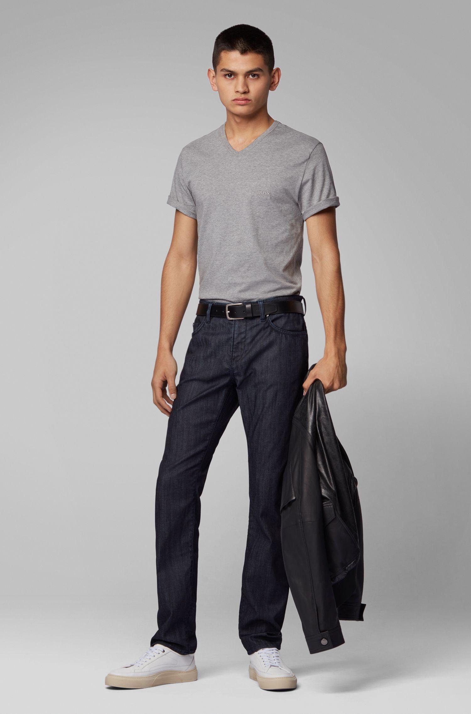 Slim-fit jeans in rinse-washed comfort-stretch denim, Dark Blue
