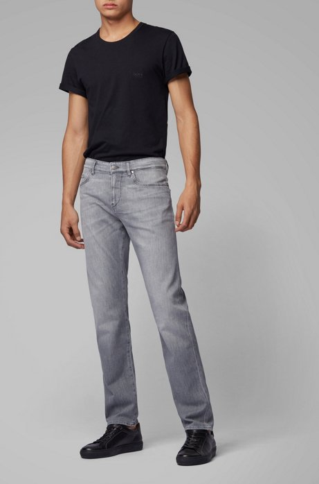 Slim-fit jeans in gray soft-touch Italian denim, Open Grey