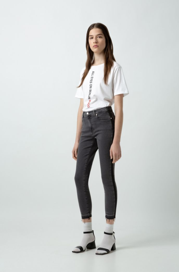 Skinny-fit cropped jeans with washed-effect side stripe
