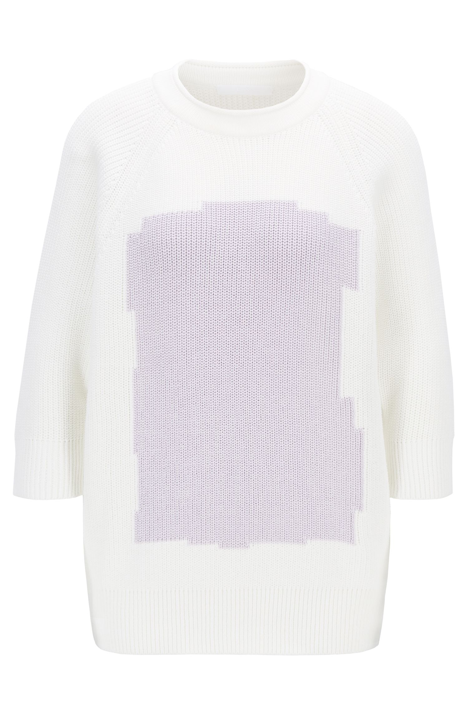 Relaxed-fit cotton sweater with color-block intarsia, Patterned