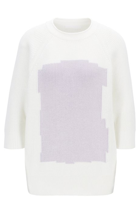 Relaxed-fit cotton sweater with raglan sleeves, Patterned