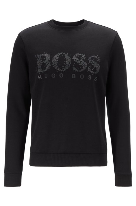 Slim-fit sweatshirt with seasonal logo artwork, Black