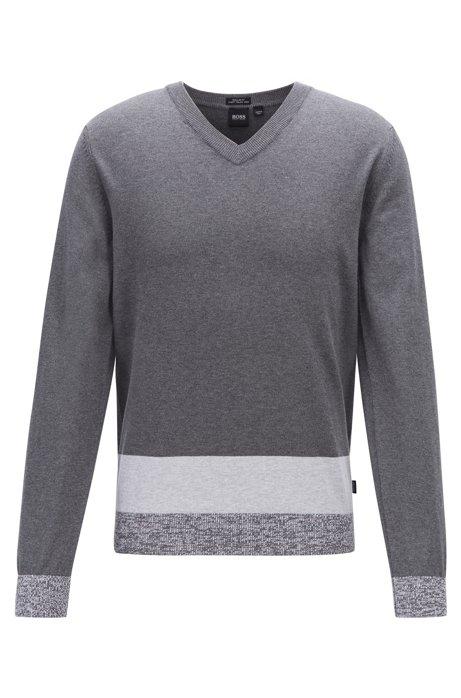 V-neck sweater in Italian Pima cotton with colorblock hem, Grey