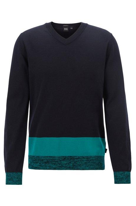 V-neck sweater in Italian Pima cotton with colorblock hem, Dark Blue