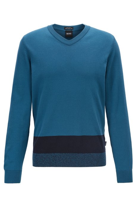 V-neck sweater in Italian Pima cotton with colorblock hem, Blue