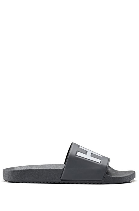 Italian-made slides with contrast-logo strap, Dark Grey
