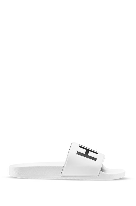 Italian-made slides with contrast-logo strap, White