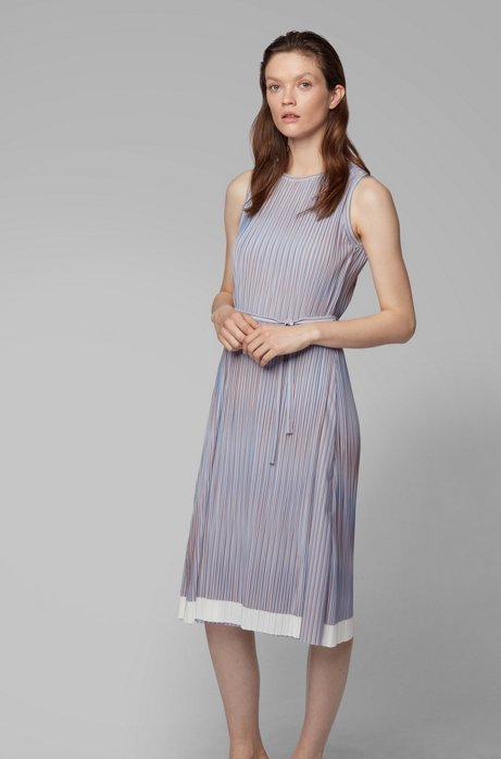 Belted plissé dress with color-block hem, Patterned