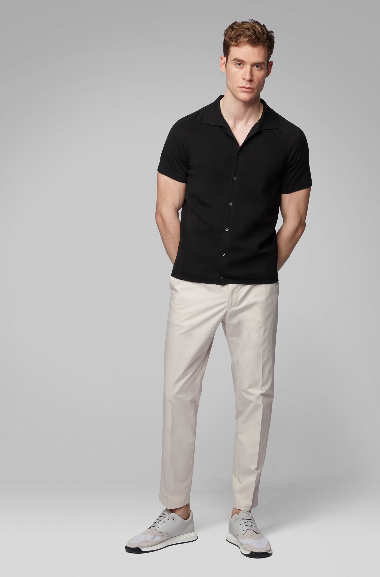 Short-sleeved knitted cardigan in micro-structured cotton, Black
