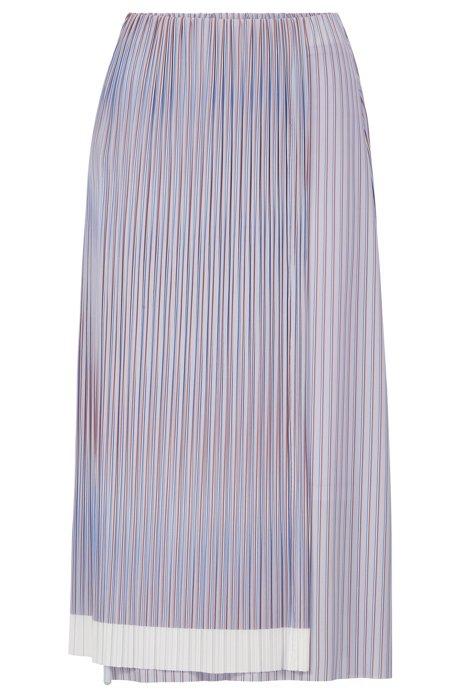 A-line skirt with plissé pleats and color-block hem, Patterned