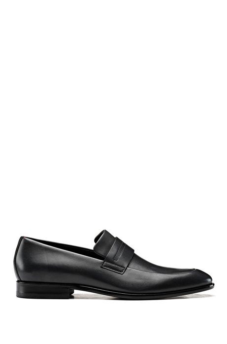 Penny-trim loafers in burnished leather with signature stitching, Black