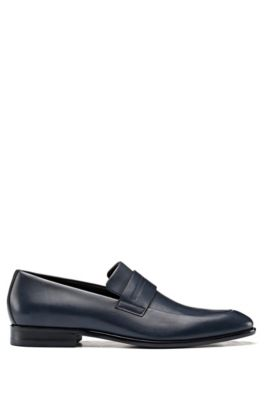 Penny-trim loafers in burnished leather with signature stitching, Dark Blue