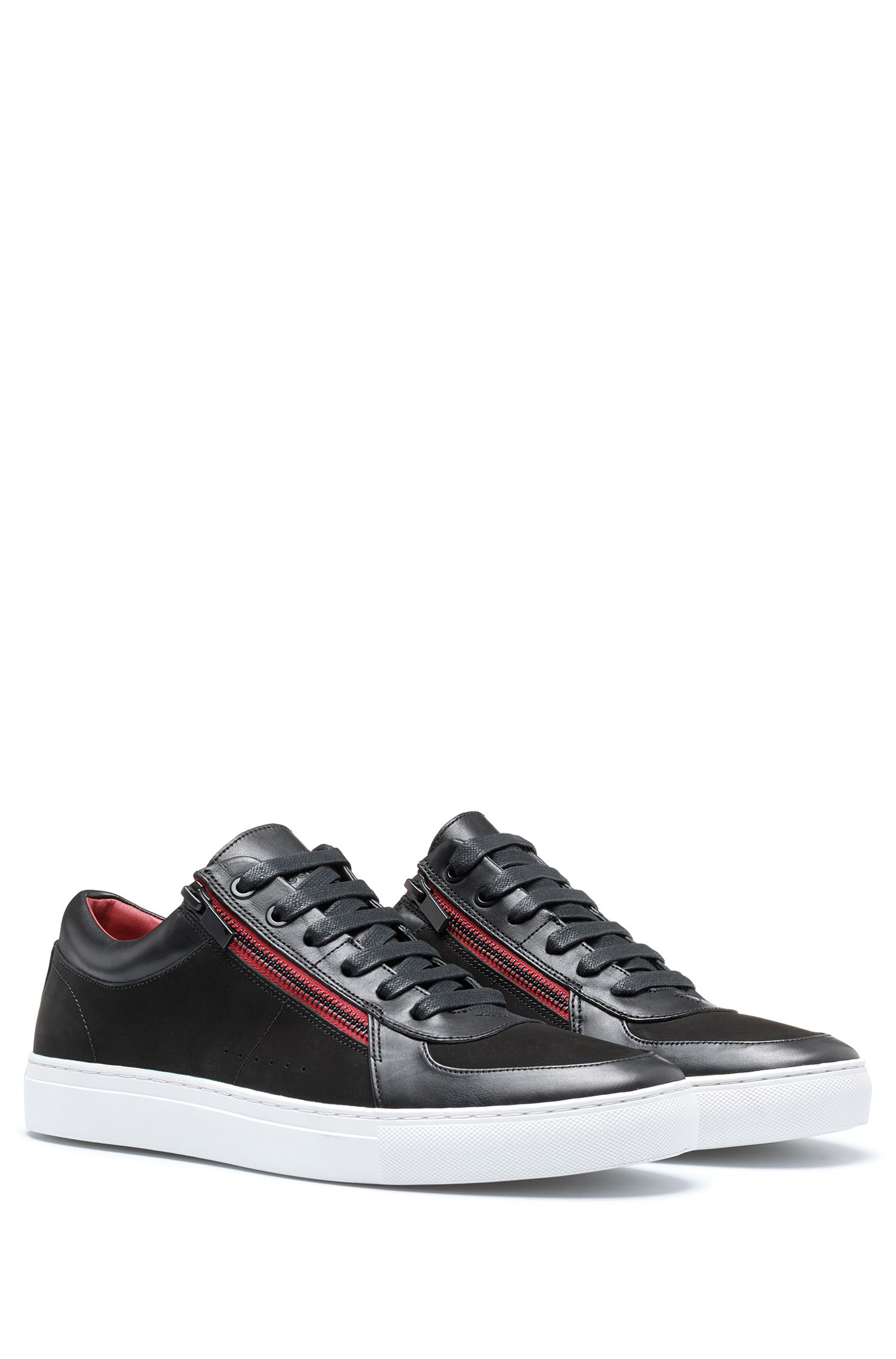 Zip-up sneakers in nubuck and nappa leather , Black