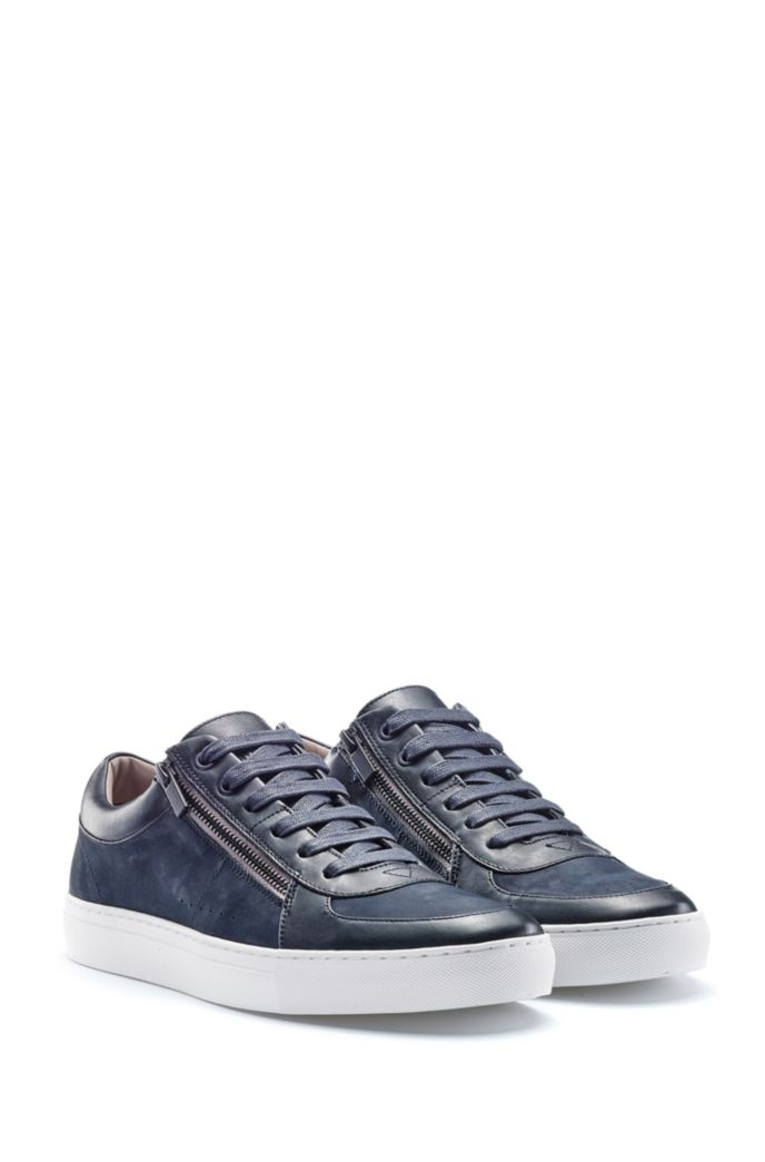 Zip-up sneakers in nubuck and nappa leather
