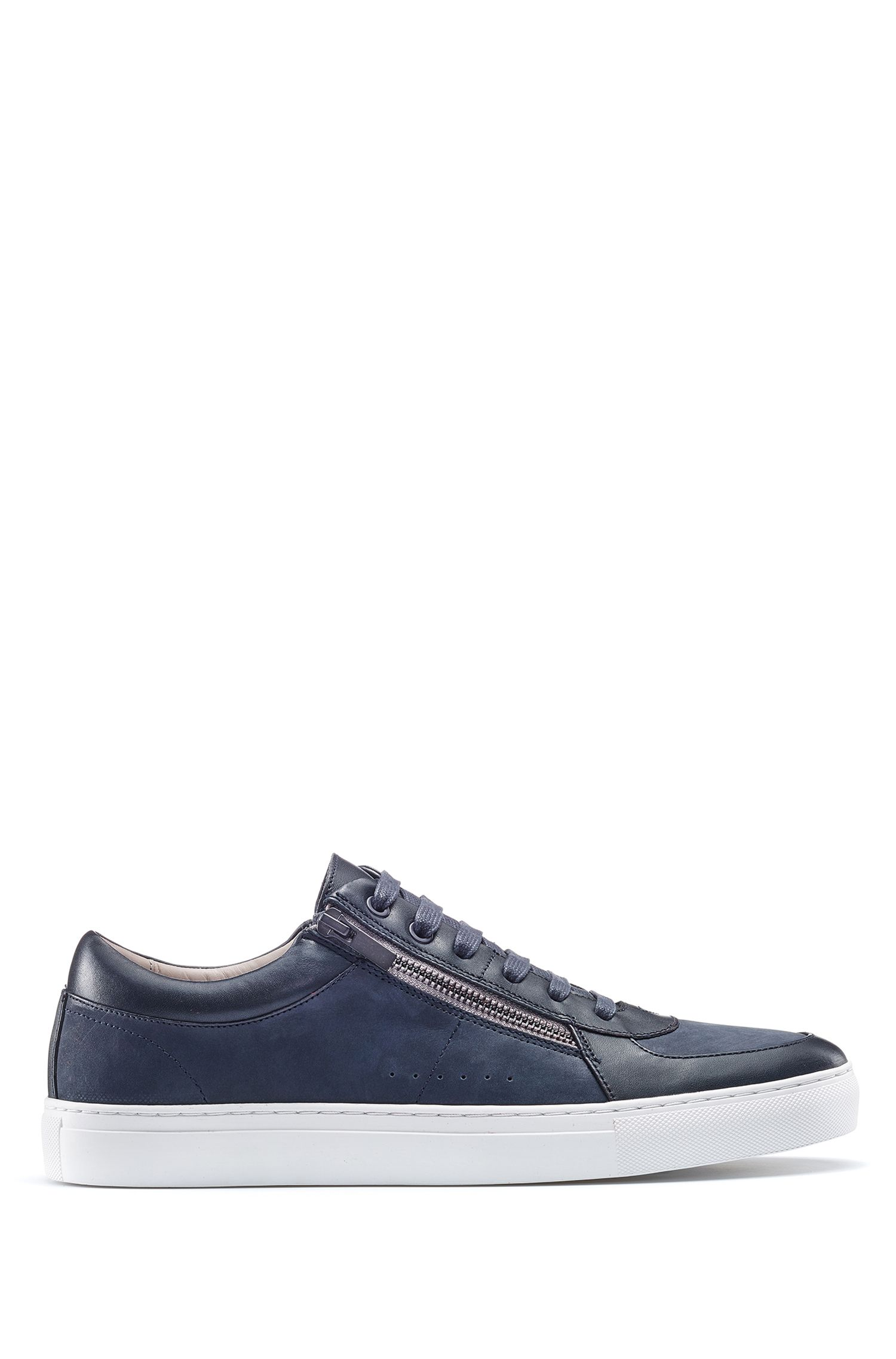 Zip-up sneakers in nubuck and nappa leather , Dark Blue