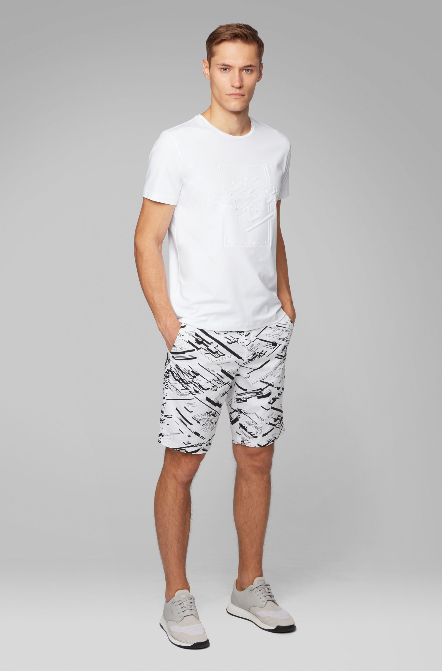 Graphic-print slim-fit shorts in stretch cotton, Light Grey