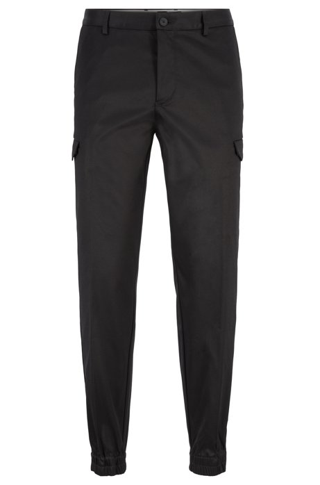 Tapered-fit pants with cargo pockets, Black