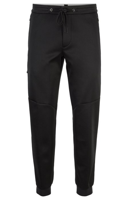 Tapered-fit jogging bottoms in Italian jersey, Black