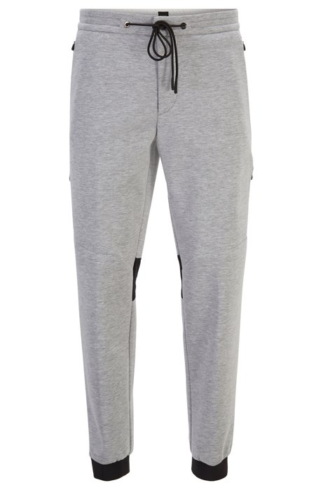 Tapered-fit jogging bottoms in Italian jersey, Light Grey