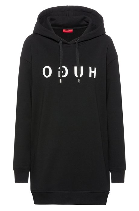 Relaxed-fit long-length hoodie with reversed logo, Black