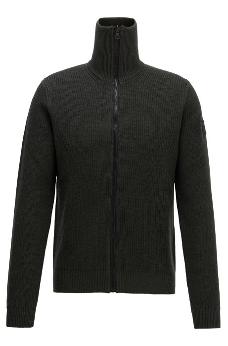 Zip-through knitted jacket in ribbed virgin wool, Open Green
