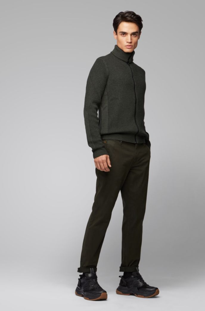 Zip-through knitted jacket in ribbed virgin wool