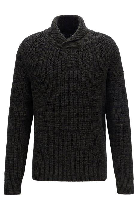 Rib-knit sweater with shawl collar and raglan sleeves, Black