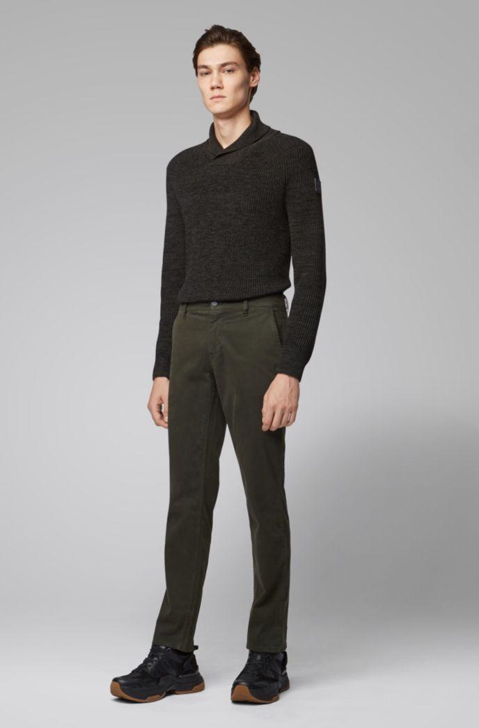 Rib-knit sweater with shawl collar and raglan sleeves