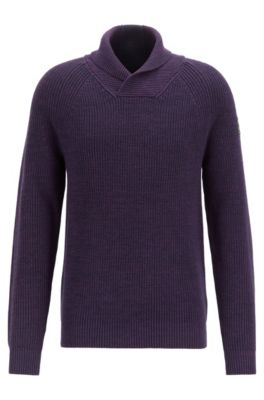 Rib-knit sweater with shawl collar and raglan sleeves, Dark Blue