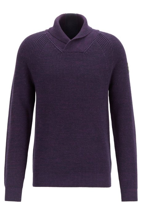 Rib-knit sweater with shawl collar and raglan sleeves, Dark Blue