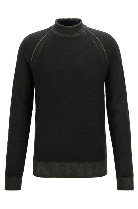 Mock-neck sweater in melange wool with raglan sleeves, Open Green