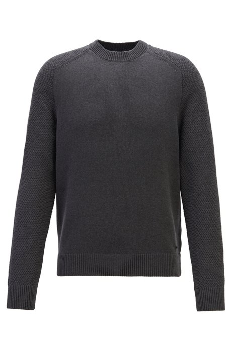 Crew-neck sweater with structured-knit sleeves, Black