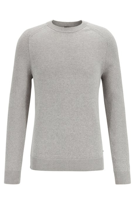 Crew-neck sweater with structured-knit sleeves, Silver