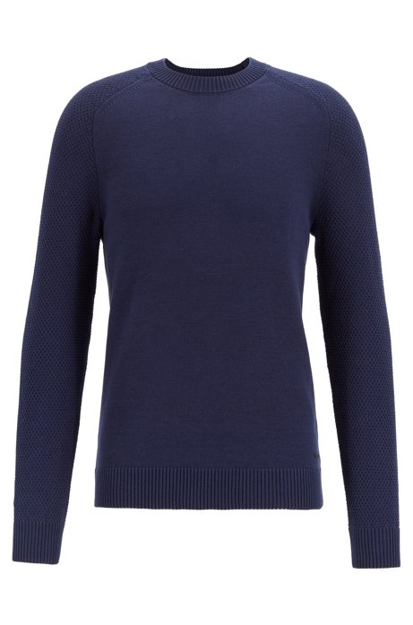 Crew-neck sweater with structured-knit sleeves, Dark Blue