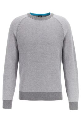 Regular-fit wool-cotton sweater in combination jacquard , Light Grey