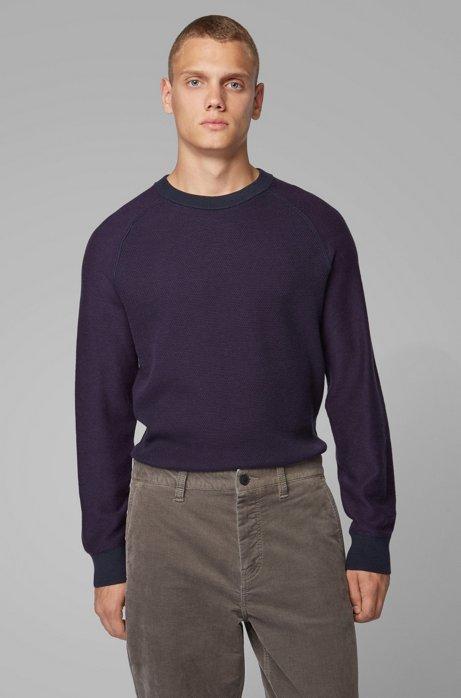 Regular-fit wool-cotton sweater in combination jacquard , Dark Blue