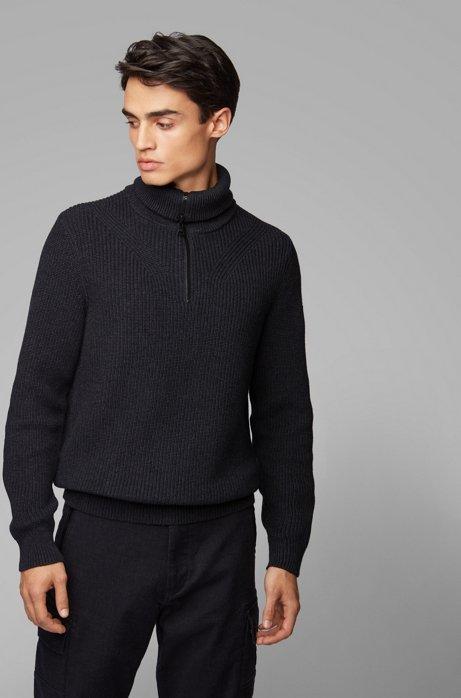Zip-neck ribbed sweater in cotton with virgin wool, Dark Grey