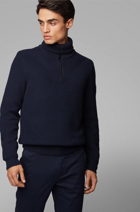 Zip-neck ribbed sweater in cotton with virgin wool, Dark Blue