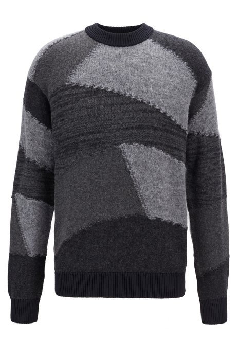Relaxed-fit knitted sweater with geometric intarsia, Black