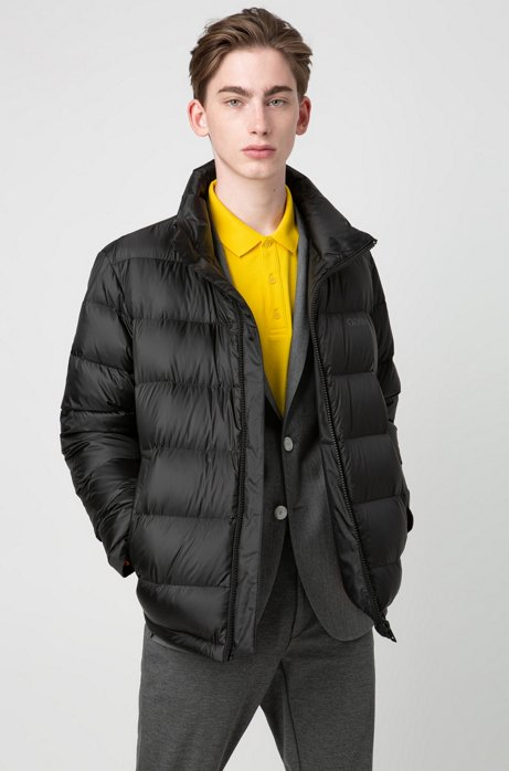 Relaxed-fit down jacket with reversed logos, Black