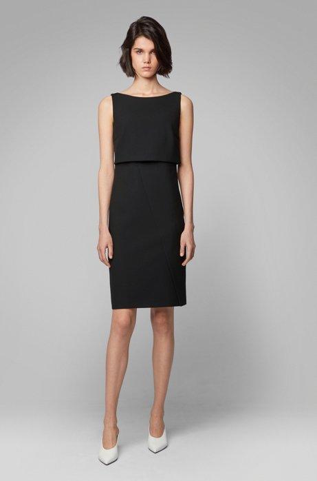 Modern shift dress with asymmetric wrap detail, Black