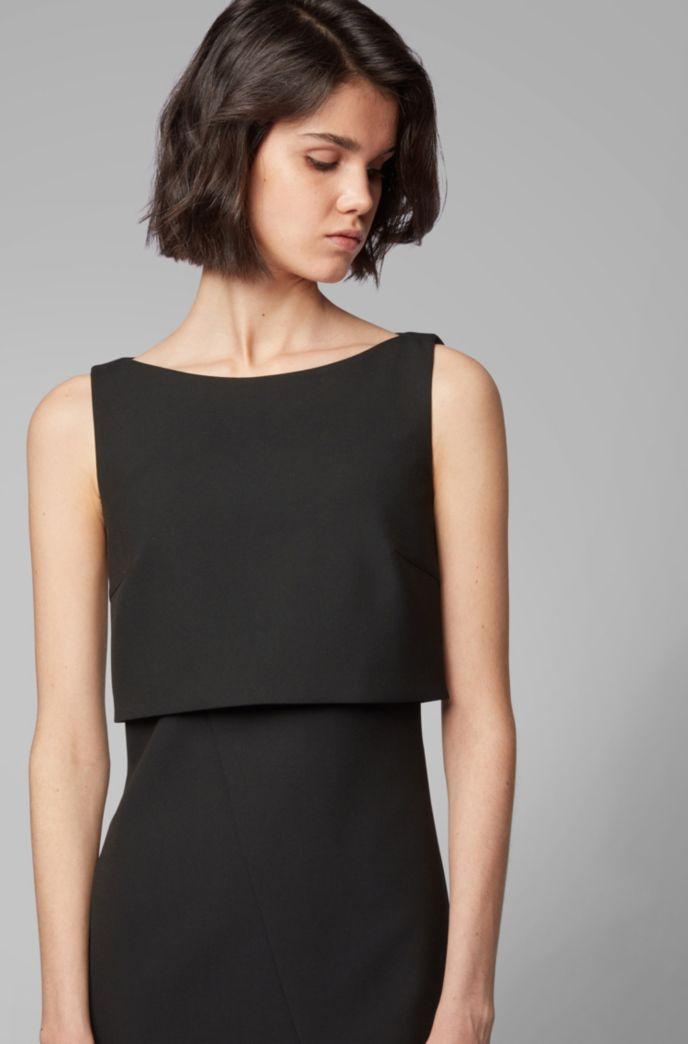 Modern shift dress with asymmetric wrap detail