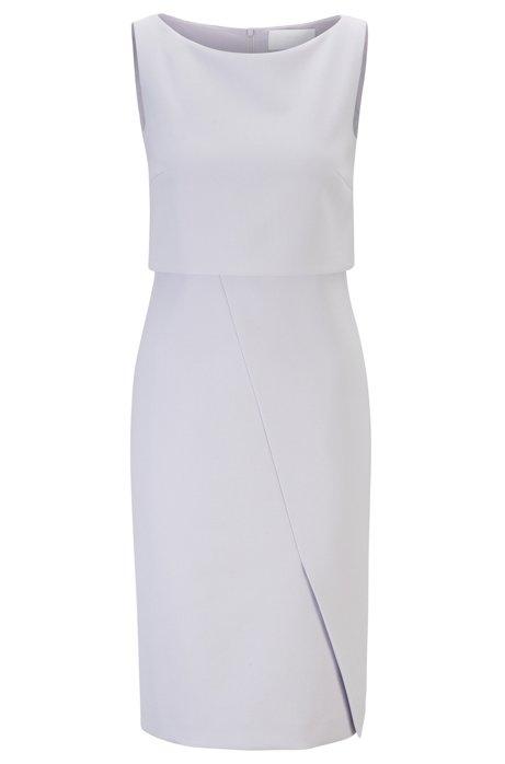 Modern shift dress with asymmetric wrap detail, Light Purple