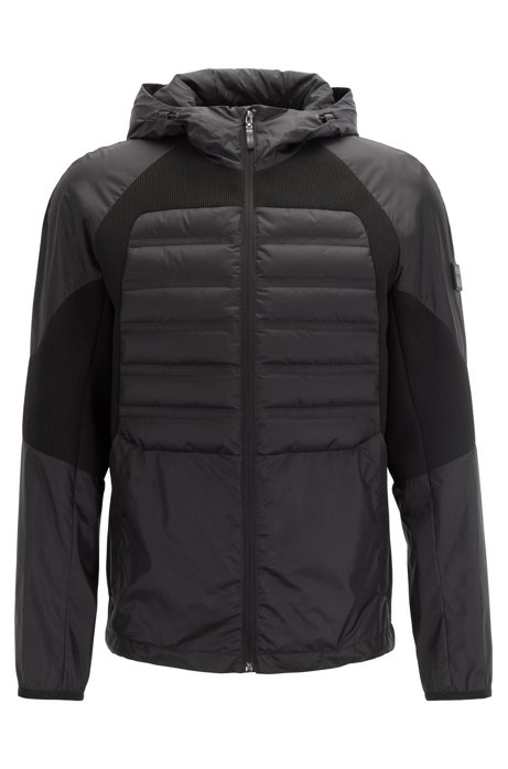 Water-repellent down jacket with stretch inserts, Black
