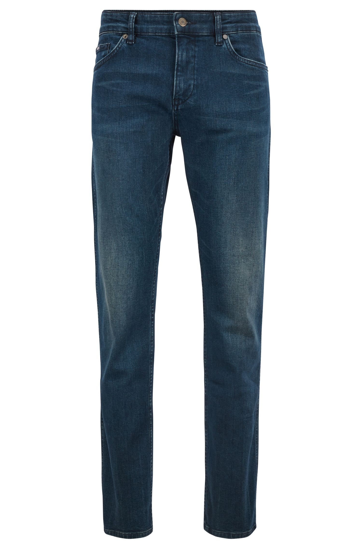 Slim-fit jeans in comfort-stretch green-cast denim, Blue